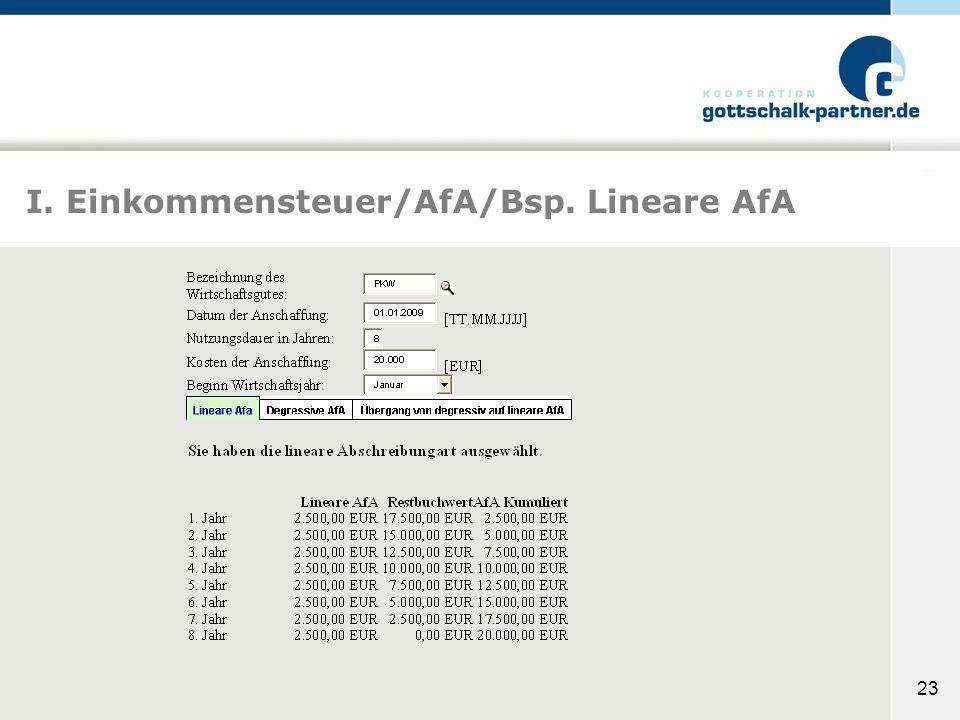 23 I. Einkommensteuer/AfA/Bsp. Lineare AfA