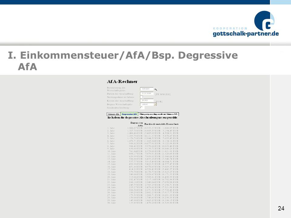 24 I. Einkommensteuer/AfA/Bsp. Degressive AfA