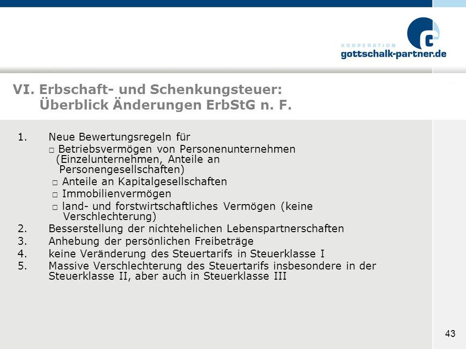43 VI. Erbschaft- und Schenkungsteuer: Überblick Änderungen ErbStG n. F. 1.Neue Bewertungsregeln für Betriebsvermögen von Personenunternehmen (Einzelu