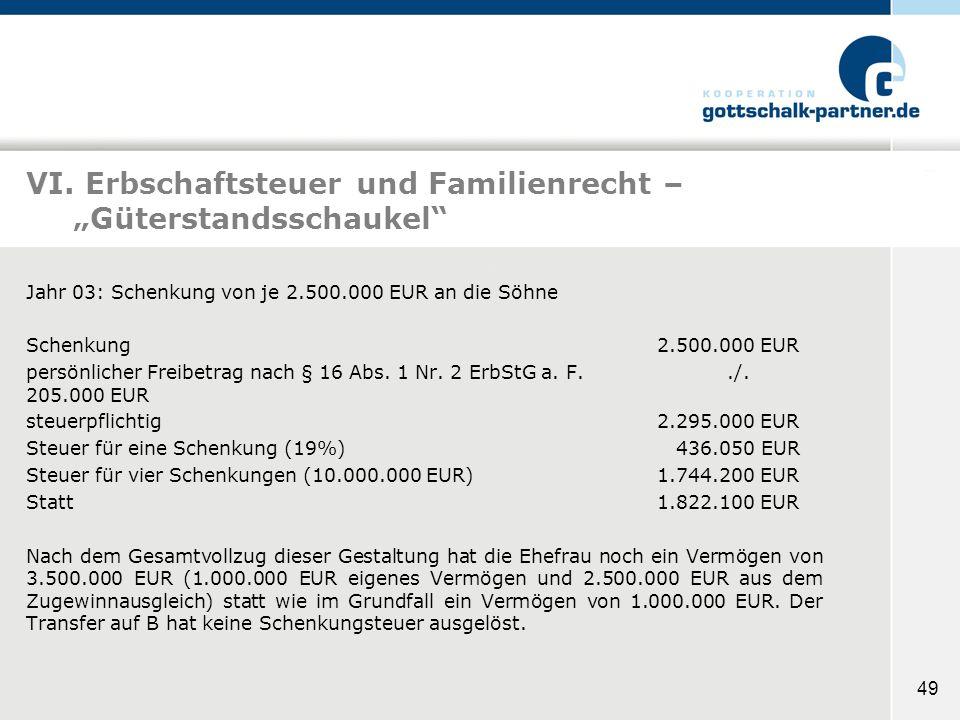49 VI. Erbschaftsteuer und Familienrecht – Güterstandsschaukel Jahr 03: Schenkung von je 2.500.000 EUR an die Söhne Schenkung2.500.000 EUR persönliche