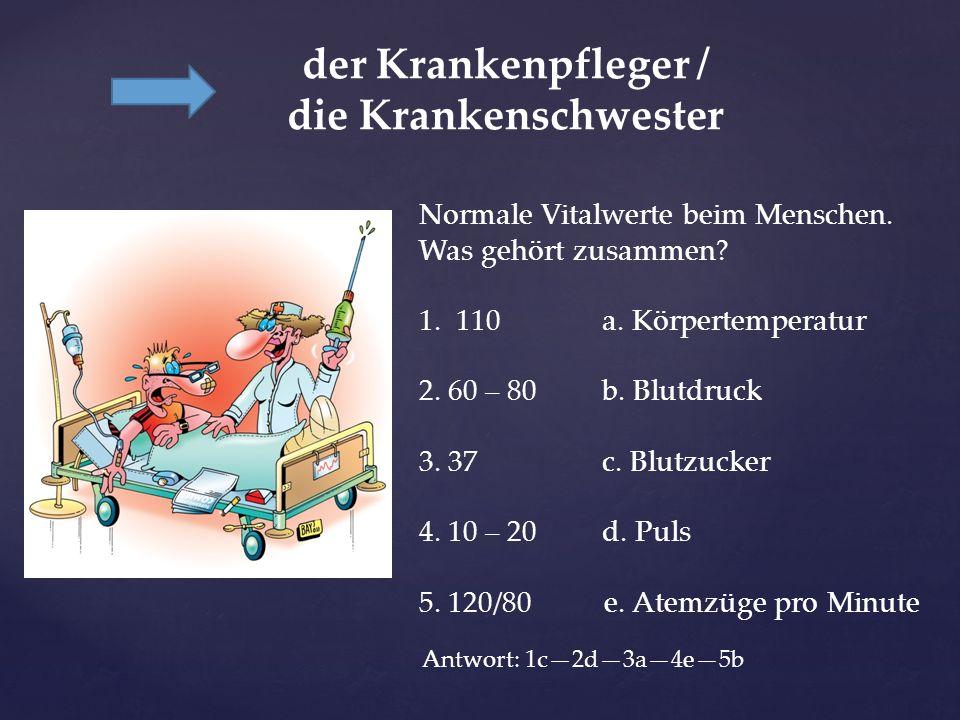 der Krankenpfleger / die Krankenschwester Normale Vitalwerte beim Menschen. Was gehört zusammen? 1. 110 a. Körpertemperatur 2. 60 – 80 b. Blutdruck 3.