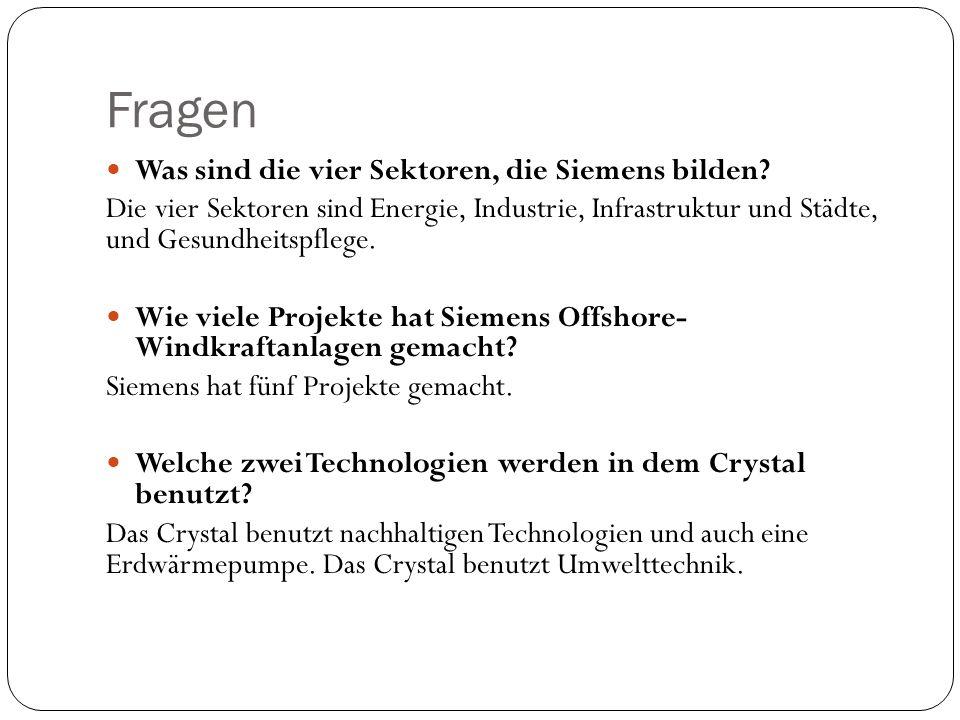 Fragen Was sind die vier Sektoren, die Siemens bilden.