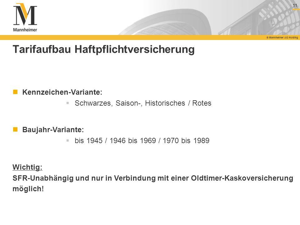 11 © Mannheimer AG Holding 11 © Mannheimer AG Holding Tarifaufbau Haftpflichtversicherung Kennzeichen-Variante: Schwarzes, Saison-, Historisches / Rot