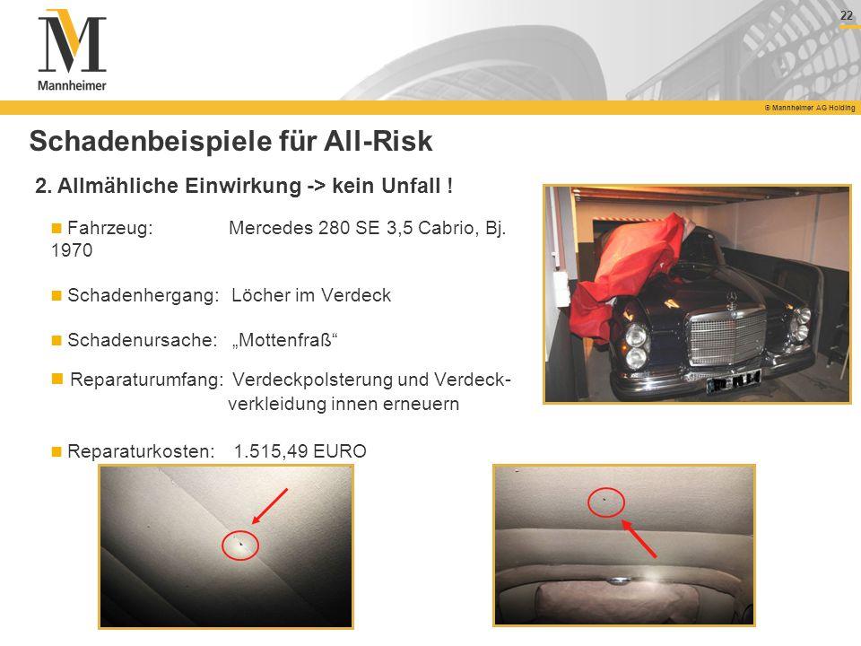 22 © Mannheimer AG Holding 22 © Mannheimer AG Holding Fahrzeug: Mercedes 280 SE 3,5 Cabrio, Bj. 1970 Schadenhergang: Löcher im Verdeck Schadenursache: