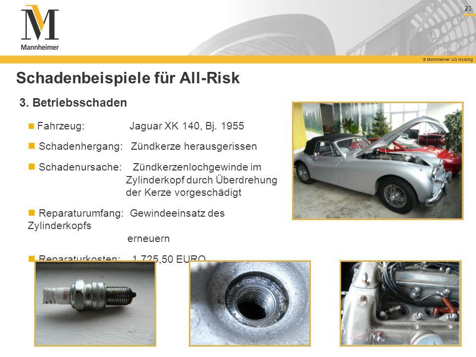 23 © Mannheimer AG Holding 23 © Mannheimer AG Holding Fahrzeug: Jaguar XK 140, Bj. 1955 Schadenhergang: Zündkerze herausgerissen Schadenursache: Zündk
