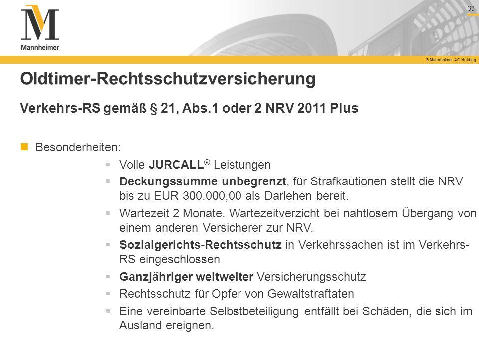 33 © Mannheimer AG Holding 33 © Mannheimer AG Holding Oldtimer-Rechtsschutzversicherung Verkehrs-RS gemäß § 21, Abs.1 oder 2 NRV 2011 Plus Besonderhei