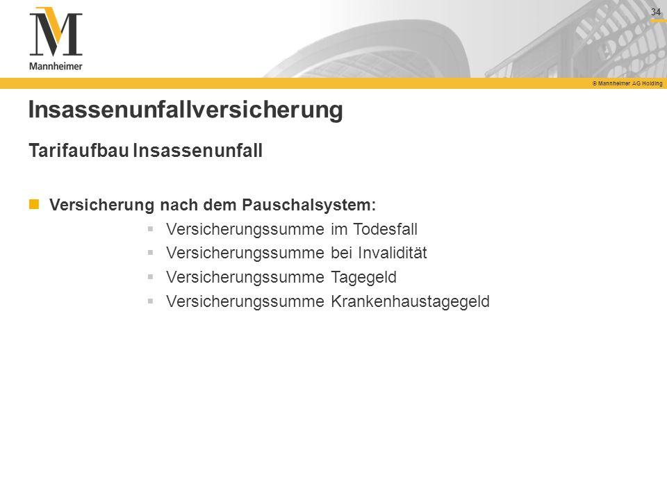 34 © Mannheimer AG Holding 34 © Mannheimer AG Holding Insassenunfallversicherung Tarifaufbau Insassenunfall Versicherung nach dem Pauschalsystem: Vers