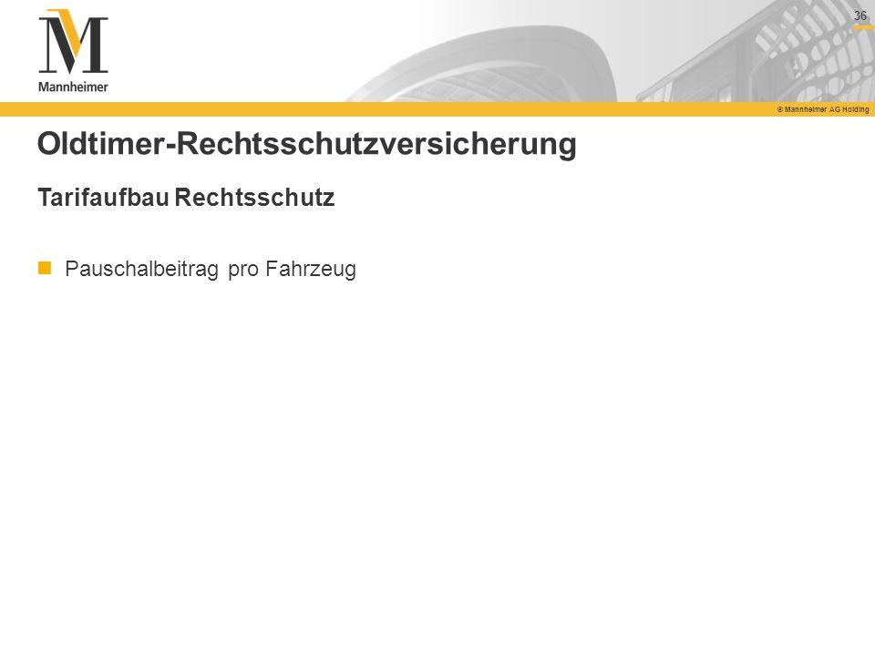 36 © Mannheimer AG Holding 36 © Mannheimer AG Holding Oldtimer-Rechtsschutzversicherung Tarifaufbau Rechtsschutz Pauschalbeitrag pro Fahrzeug