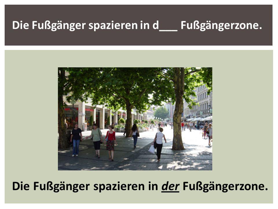 Die Fußgänger spazieren in d___ Fußgängerzone. Die Fußgänger spazieren in der Fußgängerzone.