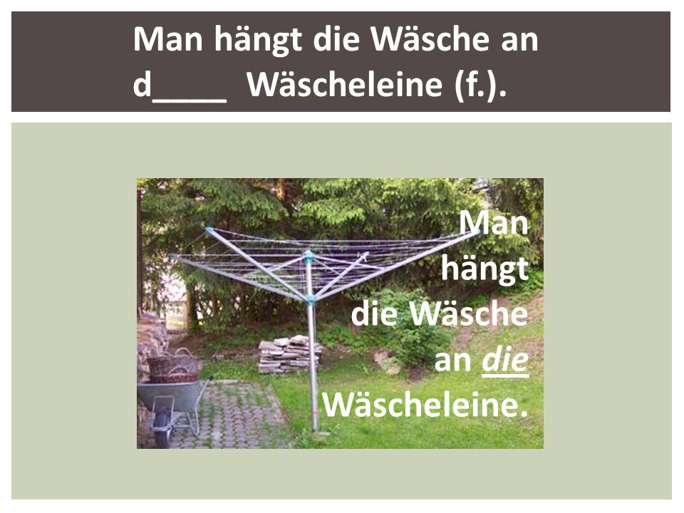 Man hängt die Wäsche an d____ Wäscheleine (f.). Man hängt die Wäsche an die Wäscheleine.