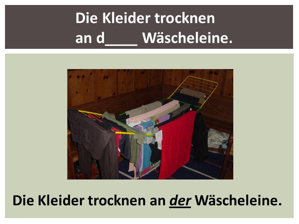 Die Kleider trocknen an d____ Wäscheleine. Die Kleider trocknen an der Wäscheleine.