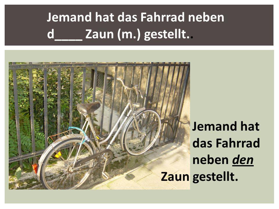 Jemand hat das Fahrrad neben d____ Zaun (m.) gestellt.. Jemand hat das Fahrrad neben den Zaun gestellt.