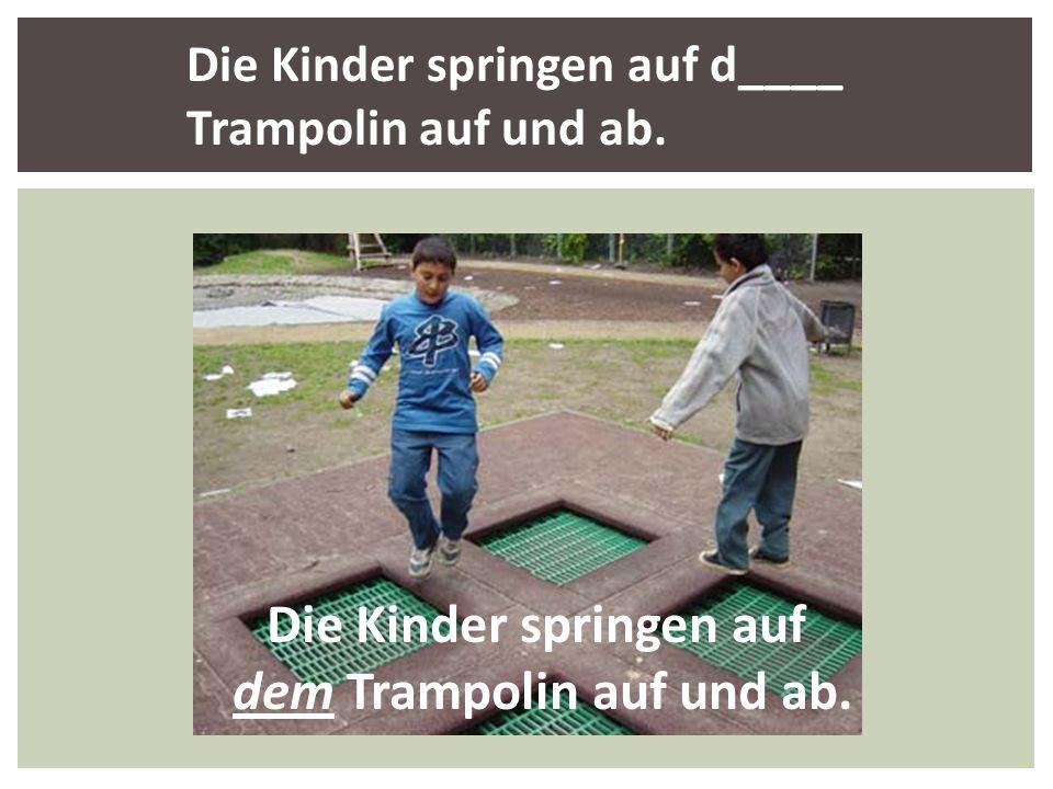 Die Kinder springen auf d____ Trampolin auf und ab. Die Kinder springen auf dem Trampolin auf und ab.