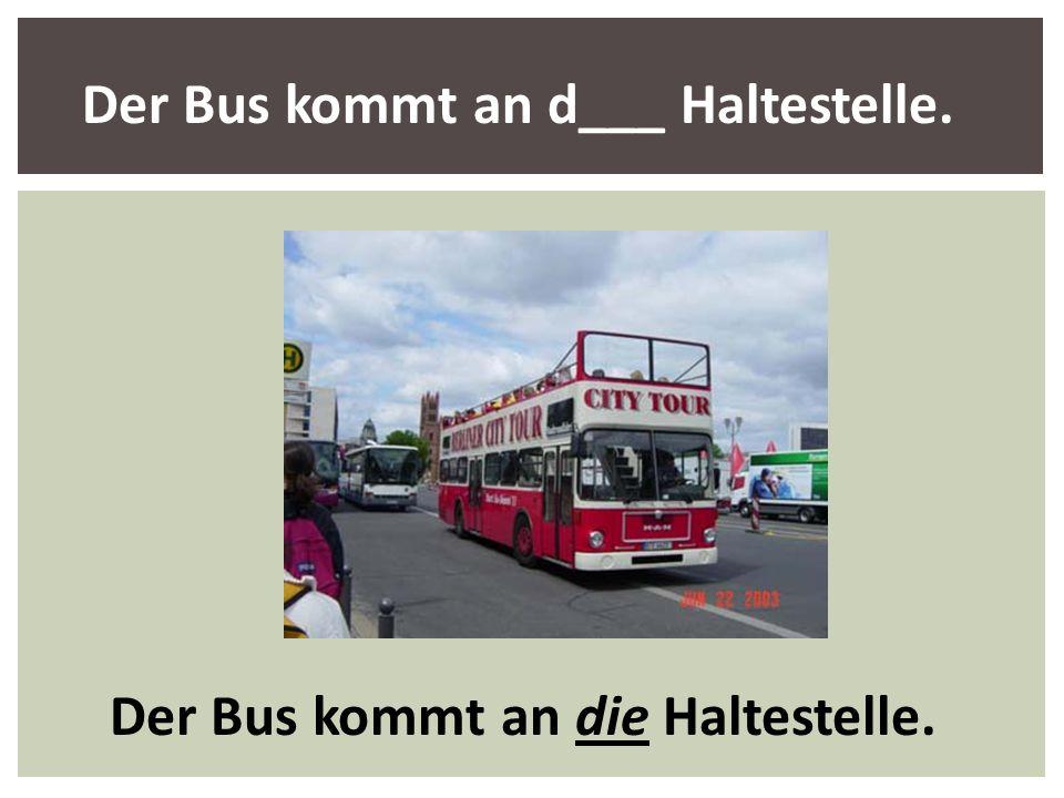 Der Bus kommt an d___ Haltestelle. Der Bus kommt an die Haltestelle.