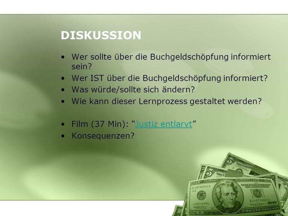 DISKUSSION Wer sollte über die Buchgeldschöpfung informiert sein? Wer IST über die Buchgeldschöpfung informiert? Was würde/sollte sich ändern? Wie kan