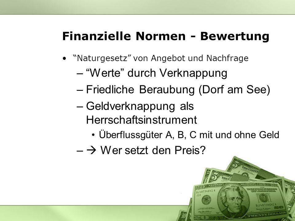 Finanzielle Normen - Bewertung Naturgesetz von Angebot und Nachfrage –Werte durch Verknappung –Friedliche Beraubung (Dorf am See) –Geldverknappung als