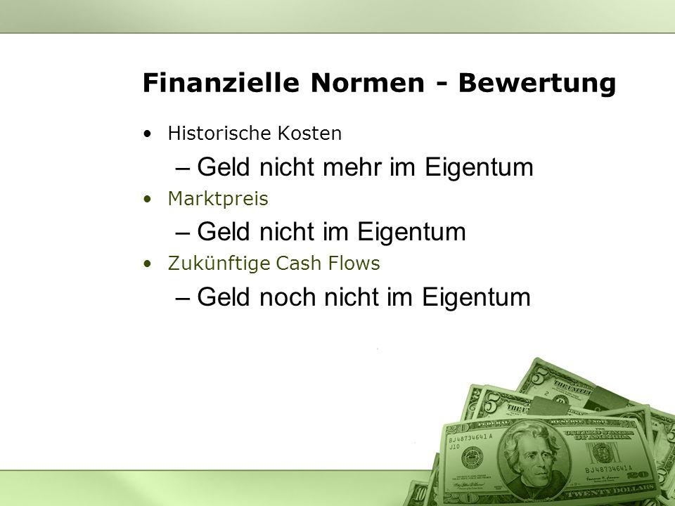 Finanzielle Normen - Bewertung Historische Kosten –Geld nicht mehr im Eigentum Marktpreis –Geld nicht im Eigentum Zukünftige Cash Flows –Geld noch nic