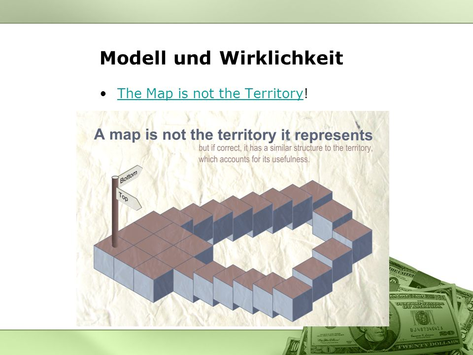 Modell und Wirklichkeit The Map is not the Territory!The Map is not the Territory