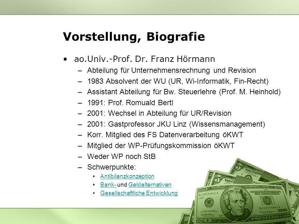 Vorstellung, Biografie ao.Univ.-Prof. Dr. Franz Hörmann –Abteilung für Unternehmensrechnung und Revision –1983 Absolvent der WU (UR, Wi-Informatik, Fi