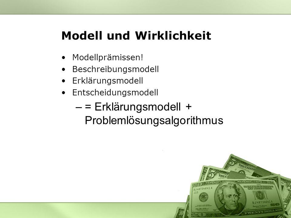 Modell und Wirklichkeit Modellprämissen! Beschreibungsmodell Erklärungsmodell Entscheidungsmodell –= Erklärungsmodell + Problemlösungsalgorithmus
