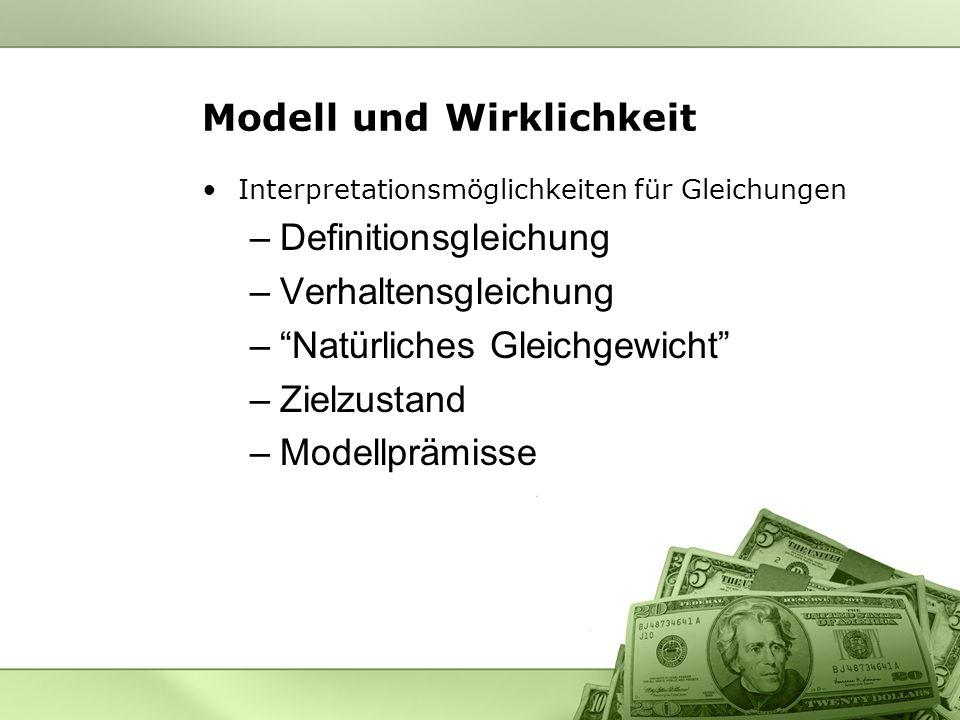 Modell und Wirklichkeit Interpretationsmöglichkeiten für Gleichungen –Definitionsgleichung –Verhaltensgleichung –Natürliches Gleichgewicht –Zielzustan