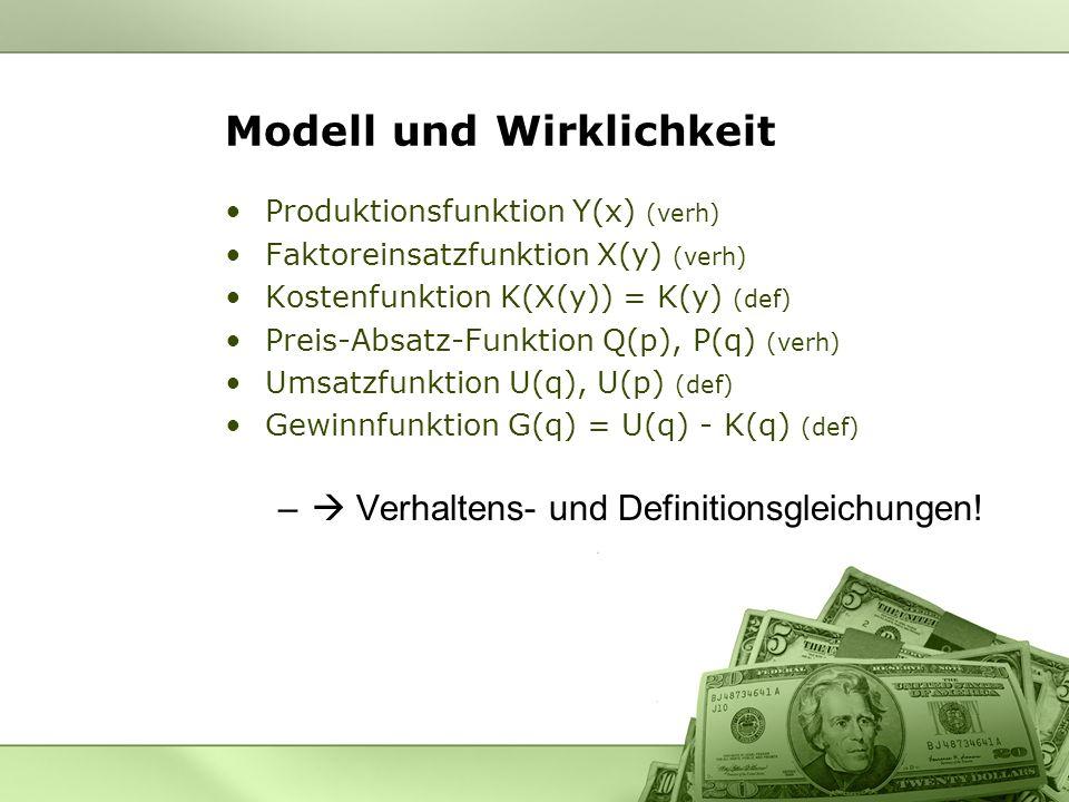 Modell und Wirklichkeit Produktionsfunktion Y(x) (verh) Faktoreinsatzfunktion X(y) (verh) Kostenfunktion K(X(y)) = K(y) (def) Preis-Absatz-Funktion Q(
