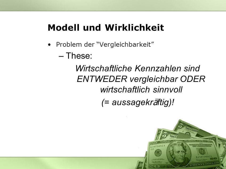 Modell und Wirklichkeit Problem der Vergleichbarkeit –These: Wirtschaftliche Kennzahlen sind ENTWEDER vergleichbar ODER wirtschaftlich sinnvoll (= aus