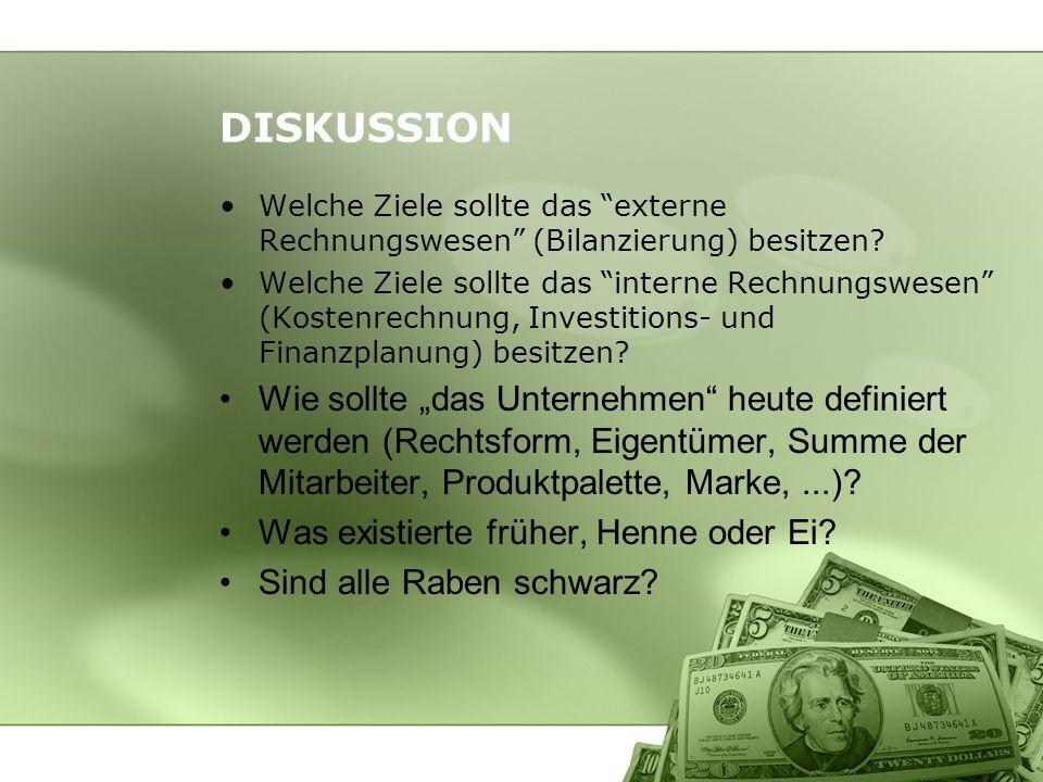 DISKUSSION Welche Ziele sollte das externe Rechnungswesen (Bilanzierung) besitzen? Welche Ziele sollte das interne Rechnungswesen (Kostenrechnung, Inv