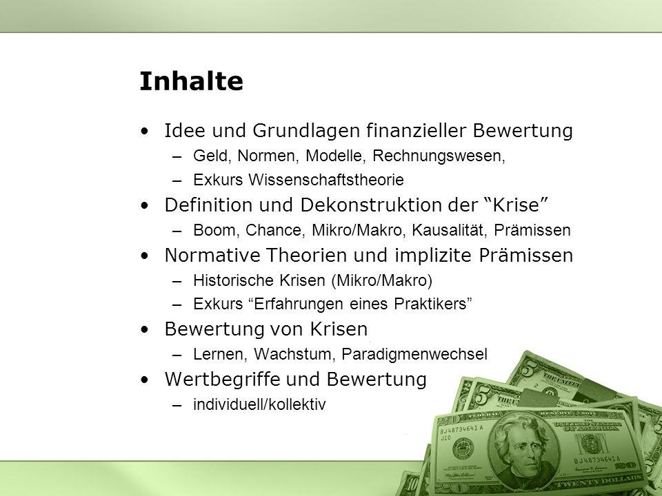 Idee und Grundlagen finanzieller Bewertung –Geld, Normen, Modelle, Rechnungswesen, –Exkurs Wissenschaftstheorie Definition und Dekonstruktion der Kris