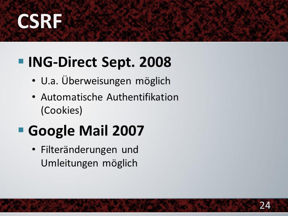 ING-Direct Sept. 2008 U.a. Überweisungen möglich Automatische Authentifikation (Cookies) Google Mail 2007 Filteränderungen und Umleitungen möglich 24