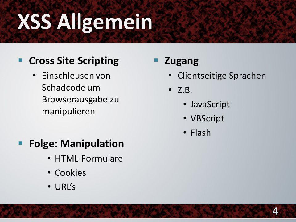 Cross Site Scripting Einschleusen von Schadcode um Browserausgabe zu manipulieren Folge: Manipulation HTML-Formulare Cookies URLs Zugang Clientseitige