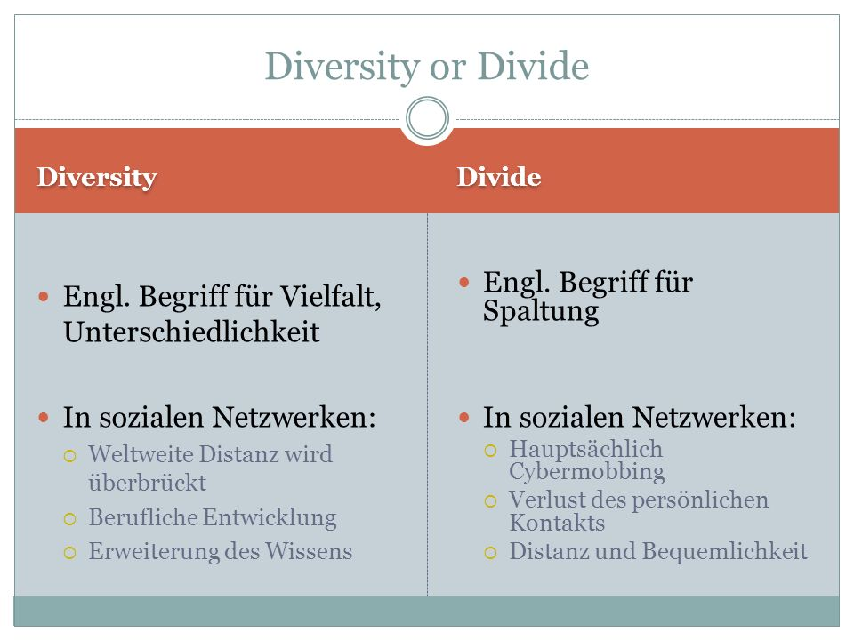 Diversity Divide Engl. Begriff für Vielfalt, Unterschiedlichkeit In sozialen Netzwerken: Weltweite Distanz wird überbrückt Berufliche Entwicklung Erwe