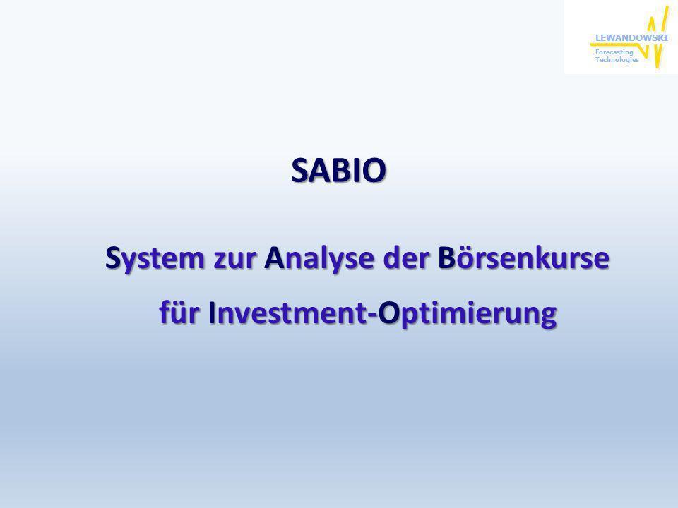 SABIO System zur Analyse der Börsenkurse für Investment-Optimierung