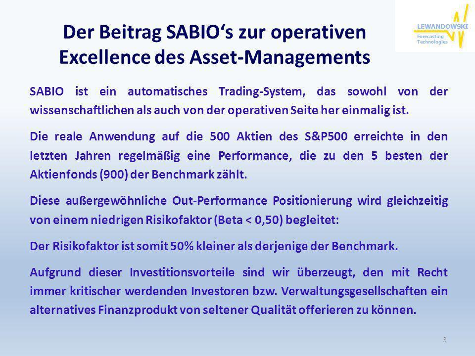 Der Beitrag SABIOs zur operativen Excellence des Asset-Managements SABIO ist ein automatisches Trading-System, das sowohl von der wissenschaftlichen a