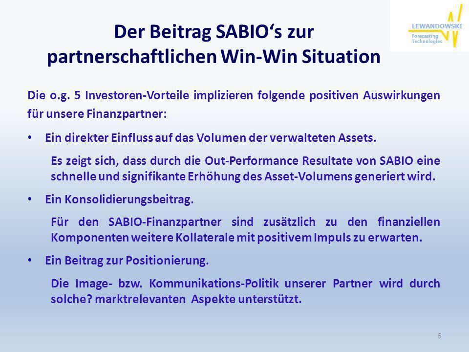 Der Beitrag SABIOs zur partnerschaftlichen Win-Win Situation Die o.g. 5 Investoren-Vorteile implizieren folgende positiven Auswirkungen für unsere Fin