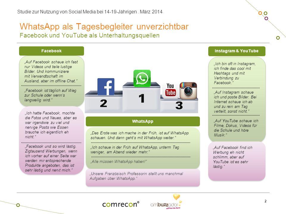Studie zur Nutzung von Social Media bei 14-19-Jährigen. März 2014 2 WhatsApp als Tagesbegleiter unverzichtbar Facebook und YouTube als Unterhaltungsqu