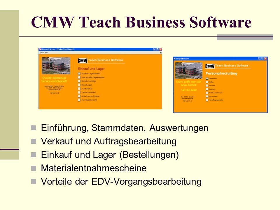 CMW Teach Business Software Einführung, Stammdaten, Auswertungen Verkauf und Auftragsbearbeitung Einkauf und Lager (Bestellungen) Materialentnahmesche