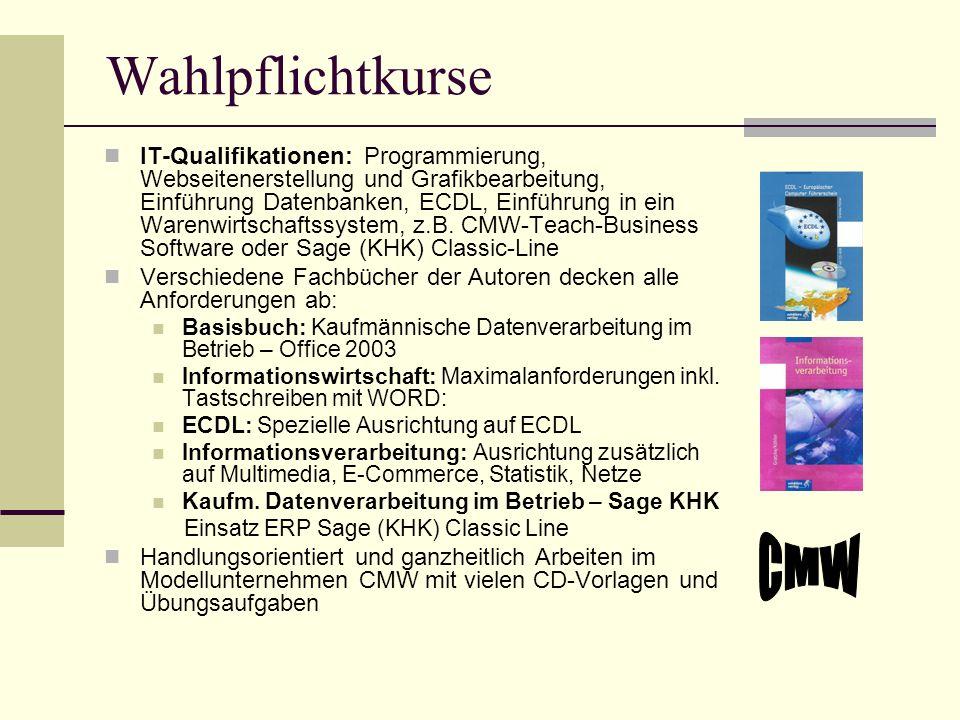 Wahlpflichtkurse IT-Qualifikationen: Programmierung, Webseitenerstellung und Grafikbearbeitung, Einführung Datenbanken, ECDL, Einführung in ein Warenw