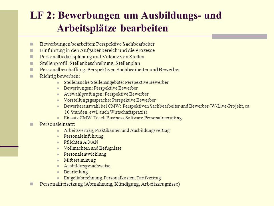 LF 2: Bewerbungen um Ausbildungs- und Arbeitsplätze bearbeiten Bewerbungen bearbeiten: Perspektive Sachbearbeiter Einführung in den Aufgabenbereich un