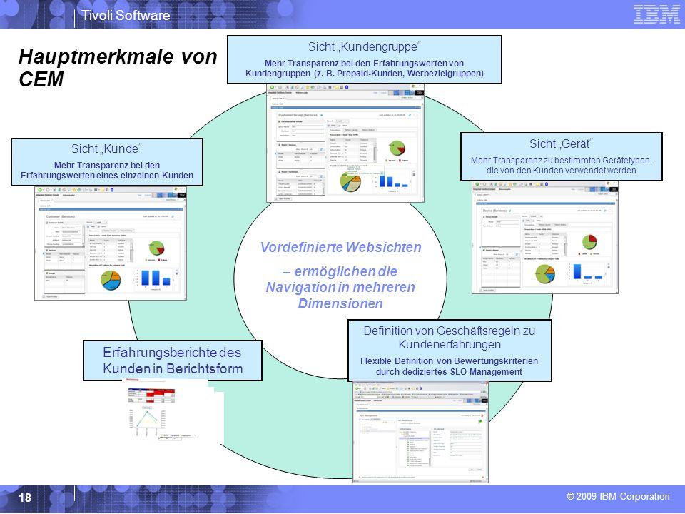 © 2009 IBM Corporation Tivoli Software 18 Hauptmerkmale von CEM Sicht Kunde Mehr Transparenz bei den Erfahrungswerten eines einzelnen Kunden Vordefinierte Websichten – ermöglichen die Navigation in mehreren Dimensionen Sicht Kundengruppe Mehr Transparenz bei den Erfahrungswerten von Kundengruppen (z.