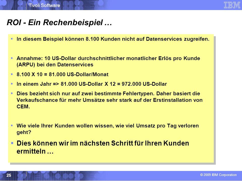 © 2009 IBM Corporation Tivoli Software 25 In diesem Beispiel können 8.100 Kunden nicht auf Datenservices zugreifen.
