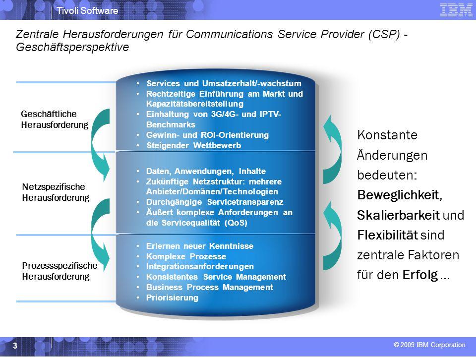 © 2009 IBM Corporation Tivoli Software 3 Zentrale Herausforderungen für Communications Service Provider (CSP) - Geschäftsperspektive Services und Umsatzerhalt/-wachstum Rechtzeitige Einführung am Markt und Kapazitätsbereitstellung Einhaltung von 3G/4G- und IPTV- Benchmarks Gewinn- und ROI-Orientierung Steigender Wettbewerb Daten, Anwendungen, Inhalte Zukünftige Netzstruktur: mehrere Anbieter/Domänen/Technologien Durchgängige Servicetransparenz Äußert komplexe Anforderungen an die Servicequalität (QoS) Erlernen neuer Kenntnisse Komplexe Prozesse Integrationsanforderungen Konsistentes Service Management Business Process Management Priorisierung Geschäftliche Herausforderung Netzspezifische Herausforderung Prozessspezifische Herausforderung Konstante Änderungen bedeuten: Beweglichkeit, Skalierbarkeit und Flexibilität sind zentrale Faktoren für den Erfolg...