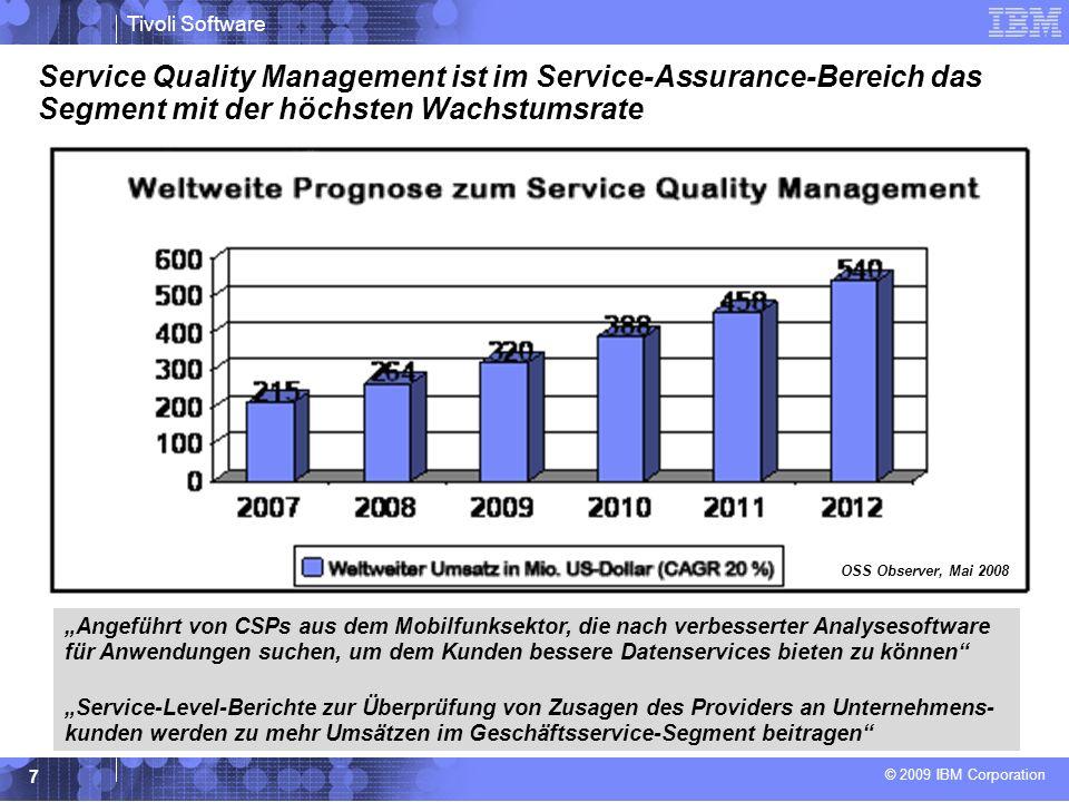 © 2009 IBM Corporation Tivoli Software 7 Service Quality Management ist im Service-Assurance-Bereich das Segment mit der höchsten Wachstumsrate OSS Observer, Mai 2008 Angeführt von CSPs aus dem Mobilfunksektor, die nach verbesserter Analysesoftware für Anwendungen suchen, um dem Kunden bessere Datenservices bieten zu können Service-Level-Berichte zur Überprüfung von Zusagen des Providers an Unternehmens- kunden werden zu mehr Umsätzen im Geschäftsservice-Segment beitragen