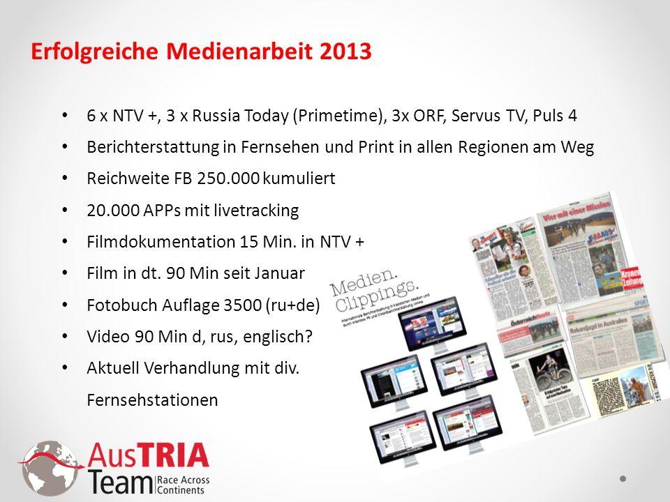 Erfolgreiche Medienarbeit 2013 6 x NTV +, 3 x Russia Today (Primetime), 3x ORF, Servus TV, Puls 4 Berichterstattung in Fernsehen und Print in allen Re