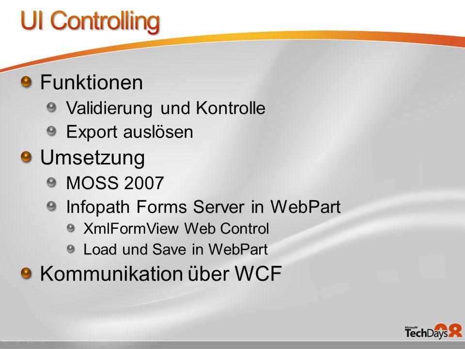 Funktionen Validierung und Kontrolle Export auslösen Umsetzung MOSS 2007 Infopath Forms Server in WebPart XmlFormView Web Control Load und Save in Web