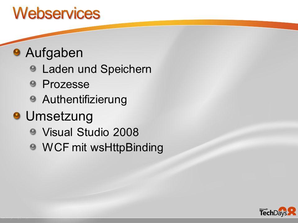 Aufgaben Laden und Speichern Prozesse Authentifizierung Umsetzung Visual Studio 2008 WCF mit wsHttpBinding