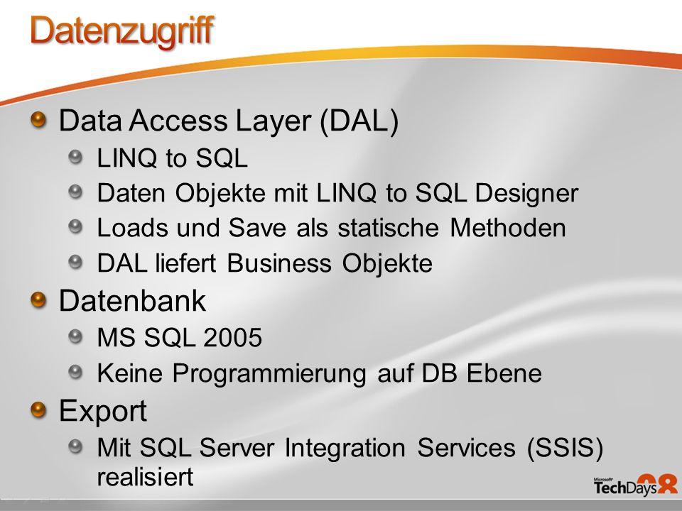 Data Access Layer (DAL) LINQ to SQL Daten Objekte mit LINQ to SQL Designer Loads und Save als statische Methoden DAL liefert Business Objekte Datenban