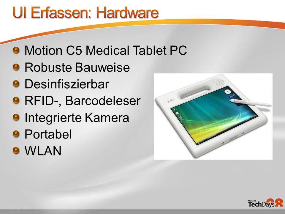 Motion C5 Medical Tablet PC Robuste Bauweise Desinfiszierbar RFID-, Barcodeleser Integrierte Kamera Portabel WLAN