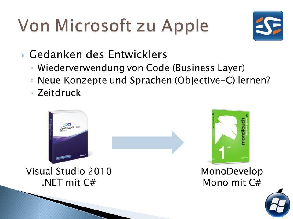 Gedanken des Entwicklers Wiederverwendung von Code (Business Layer) Neue Konzepte und Sprachen (Objective-C) lernen? Zeitdruck Visual Studio 2010.NET