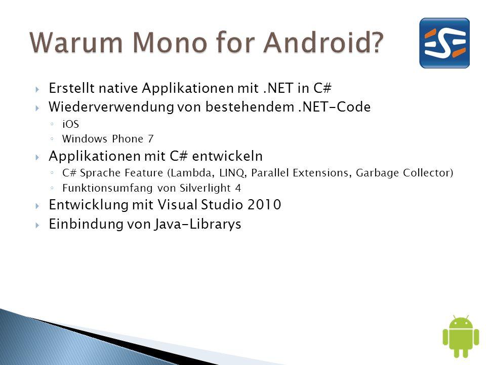 Erstellt native Applikationen mit.NET in C# Wiederverwendung von bestehendem.NET-Code iOS Windows Phone 7 Applikationen mit C# entwickeln C# Sprache F